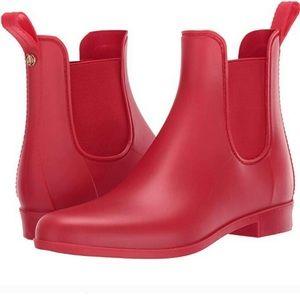 Sam Edelman matte red rubber ankle rain boots 9